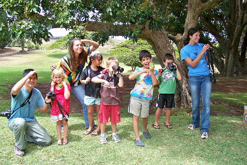 The kids at the Hui No'eau Visual Arts Center enjoyed looking for birds.