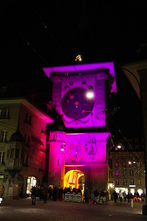 Image of Clock Tower near Bern. museumsnacht bern schweiz switzerland 10 2010 zytglogge turm tower clock attraction tourists