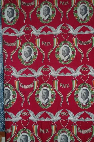 Pagne featuring President of Cote d'Ivoire Félix Houphouët-Boigny, c. 1965