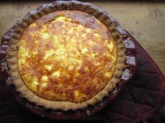 pastry(0.0), zwiebelkuchen(0.0), produce(0.0), torte(0.0), pie(1.0), baked goods(1.0), custard pie(1.0), tart(1.0), food(1.0), dish(1.0), dessert(1.0), cuisine(1.0), quiche(1.0),