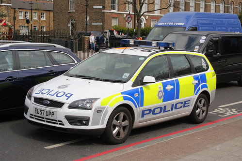 British Transport Police vehicle at Mile End Underground station