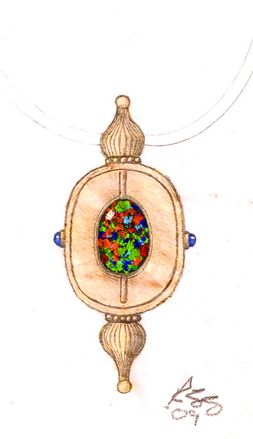 Design Sketch / Rendering for Black Opal Necklace / 5