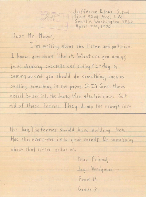 Earth Day letter, 1970