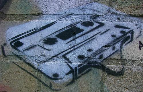 Audio Cassette Tape Stencil Graffiti - Bethnal Green, London E2