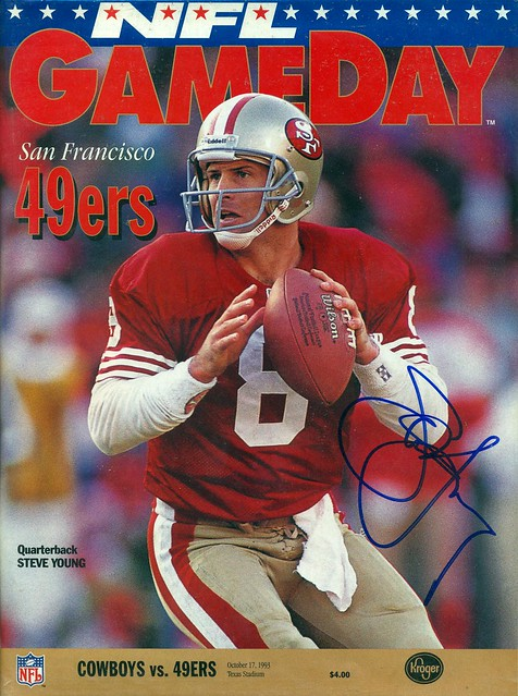 October 17, 1993, Autographed NFL Game Day Magazine, Dallas Cowboys vs San Francisco 49ers, Texas Stadium, by Steve Young