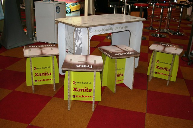 Xanita Exhibition Stand : Exhibition booth promo table and stool using board print