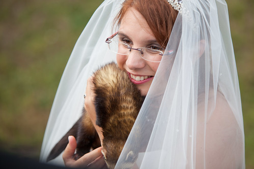 Bride with ferret