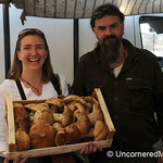 Audrey Helps Sell Some Porcini Mushrooms - Montepulciano, Tuscany