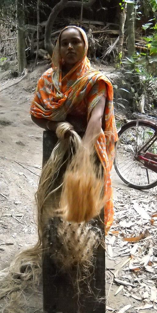 Jahanara combs the tangles in the jute fibre, preparing to twist it into rope. Credit: Manipadma Jena/IPS