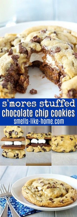 smores stuffed chocolate chip cookies collage