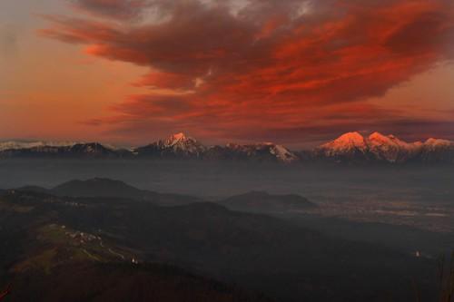 sunset sky mountains landscape slovenia slovenija gora jost skuta storzic kranj kocna storžič krizna grintovec križna kočna jošt šmarjetna iskratel smarjetna