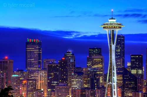 seattle blue sky clouds sunrise buildings lights washington cityscape spaceneedle hdr photomatix canonrebelxs canonefs55250mmf456is canoneos1000d tylermccall