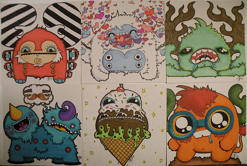 Six Monster Illustrations