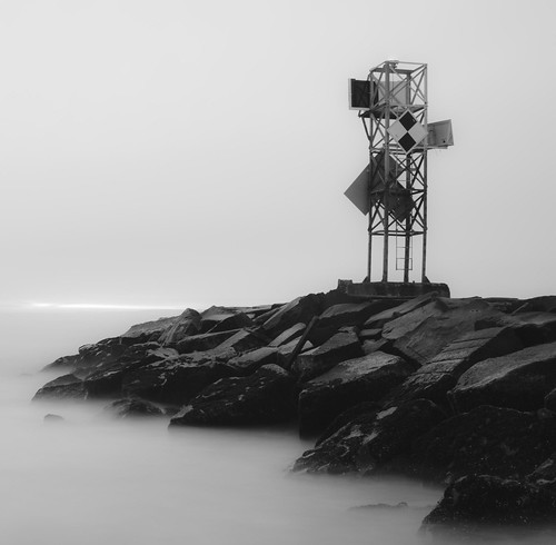 ocean longexposure sea blackandwhite bw beach sunrise md jetty maryland atlantic oceancity oc beacon nd110