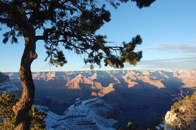 Snow-Covered Grand Canyon, Approaching Dusk