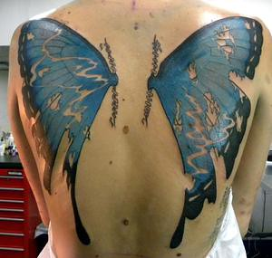 Butterfly Wings Back Piece cover up tattoo | Flickr ...