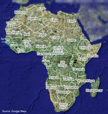 continent of africa, continent of Africa  / google maps by trudeau