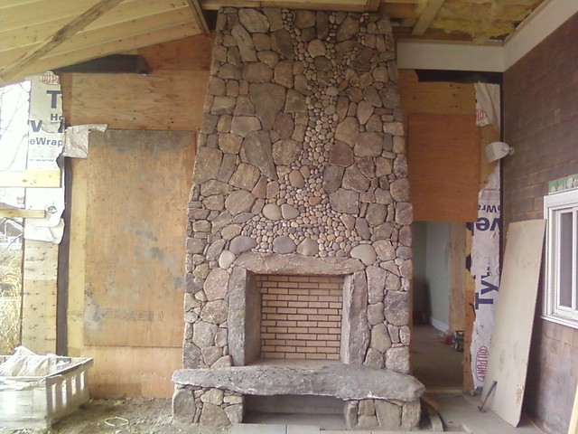 New England Fieldstone Outdoor Fireplace In Progress Flickr Photo Sharing