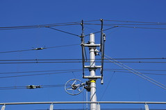electrical supply, overhead power line, line, electricity, blue, public utility,