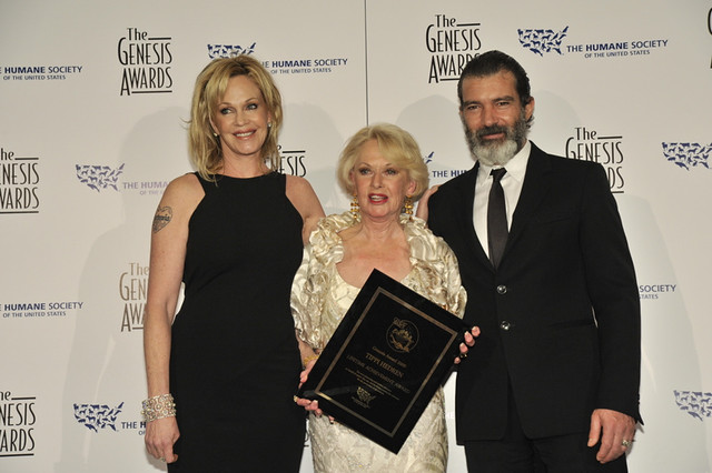 Melanie Griffith and Antonio Banderas with Lifetime Achievement Awardee actress and animal advocate Tippi Hedren