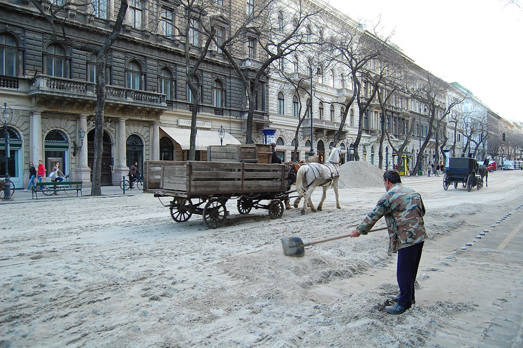 "Cleaning up Andrassy after filming a scene for ""Bel Ami"""