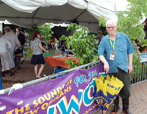 WWOZ General Manager David Freedman checks in at the 'OZ Hospitality Tent on Day 2.