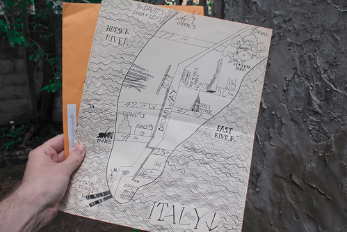 In the mail from Janine: a map she drew of Manhattan circa 1980.