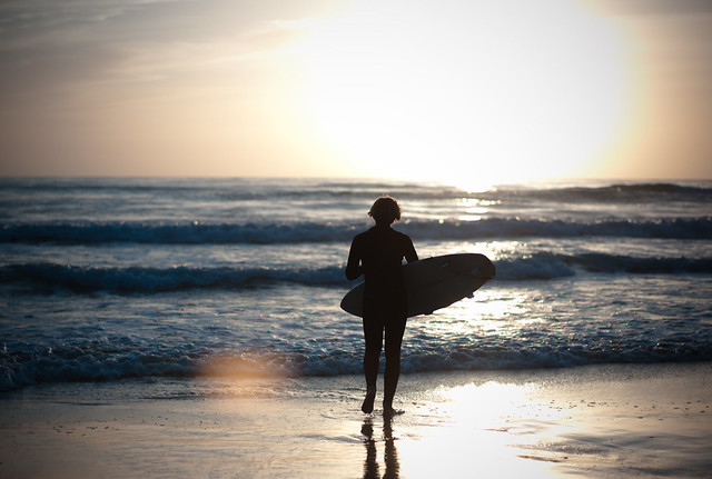 Surfer, Beach, and Flare