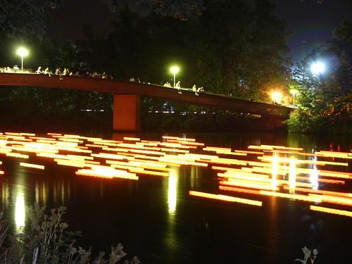 longexposure bridge moon lightpainting night canon river eos lights stream 300d nightshot romantic reflexion danube ulm donau schwörmontag lichterserenade schwörwoche