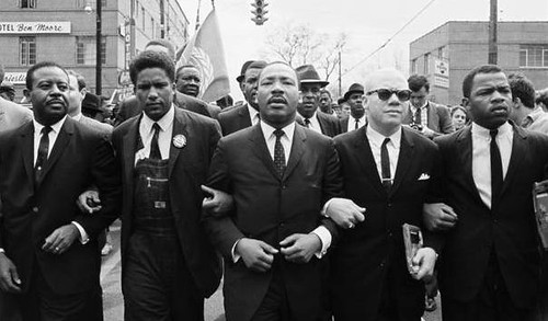 from left: John Lewis, Reverend Jesse Douglas, Martin Luther King, Jr., James Forman and Ralph Abernathy (1965 photo by Steve Schapiro/Corbis, via History.com)