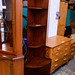 Tall slim mahogany corner shelf unit E80