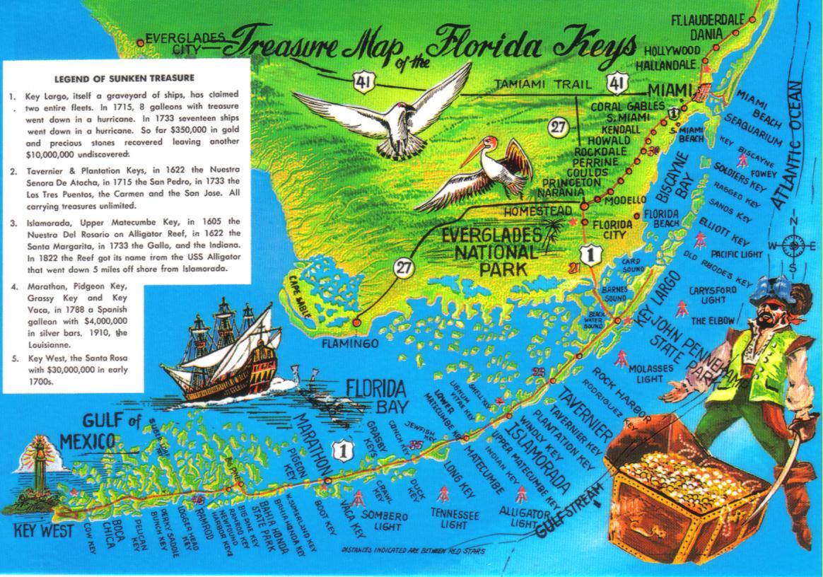 Florida Keys Treasure Map Postcard Available A Photo On Flickriver - Fl map keys