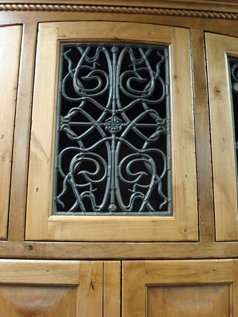 Faux wrought iron cabinet door insert the cabinet door - Wrought iron kitchen cabinet door inserts ...