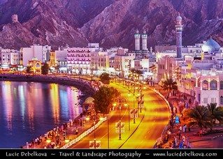 Oman - Muscat - Muttrah Corniche at Dusk - Twilight - Blue Hour - Night