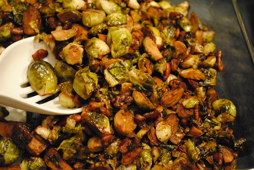 Pan Fried Brussel Sprouts with Balsamic and Pecans