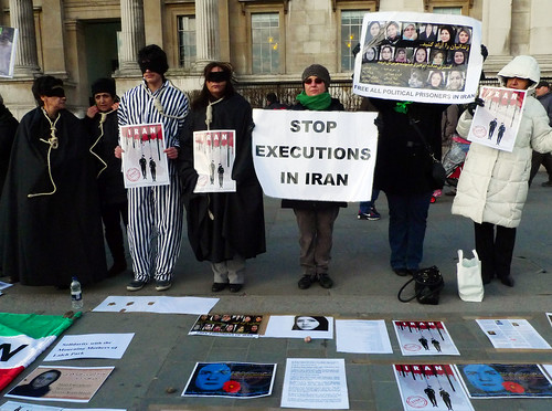 Weekly vigil in Trafalgar Square against human rights violations and political executions in Iran.