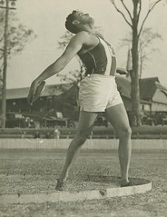 Discus thrower C. O'Neill competing in an athletic carnival at Lang Park, Brisbane