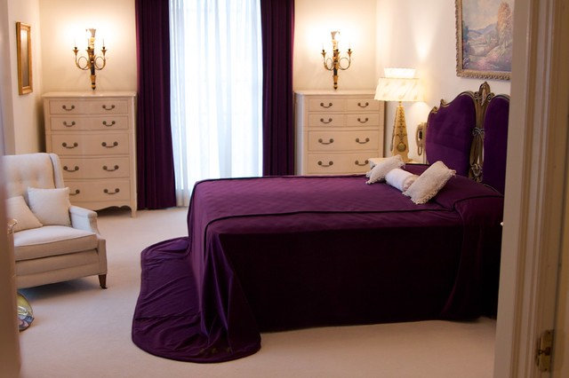 violet purple color design decorate bedroom interior luxury classic traditional