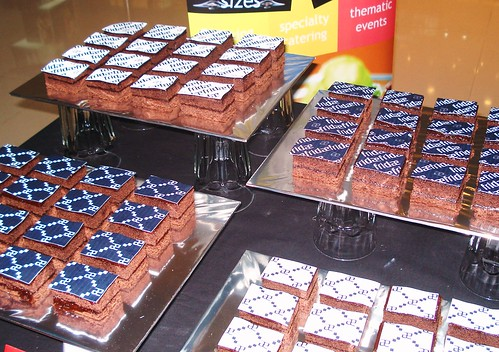 chocolate fudge squares w/ monogrammed fridae logos