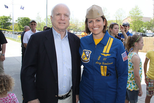 Senator John McCain with Lt. Amy Tomlinson of the Blue Angels in Charleston, SC - 4/17/10