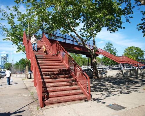M167 East 129 Street Pedestrian Bridge over 3 Avenue Bridge Exit Ramp, Harlem, New York City