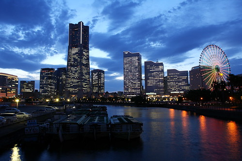 city travel blue light sunset japan night skyscraper port boat twilight structure 日本 nippon yokohama 横浜