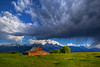"Morning storm over Tetons & Moulton Barn by IronRodArt - Royce Bair (""Star Shooter"")"