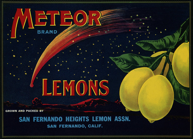Meteor Lemons Brand: Grown and packed by San Fernando Heights Lemon Assn., San Fernando, Calif.