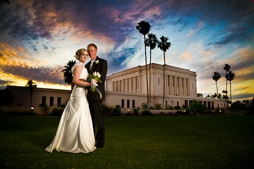 wedding sunset arizona canon temple groom bride saturated 7d lds mesa strobist