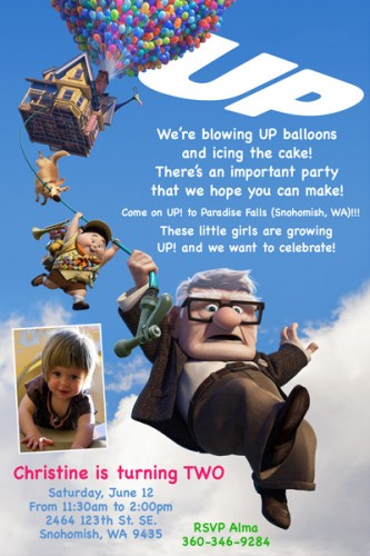 UP Disney Pixar Movie Custom Birthday Invitation