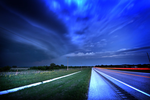 "Red lights on an Oklahoma ""Blue Highway"" in the heart of Tornado Alley"