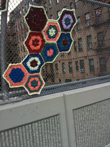 yarn bombing fence
