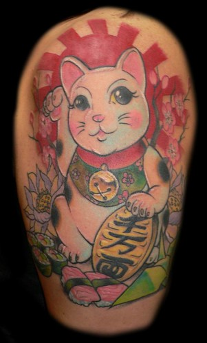Maneki Neko - Lucky Cat Tattoo with Sushi and Origami