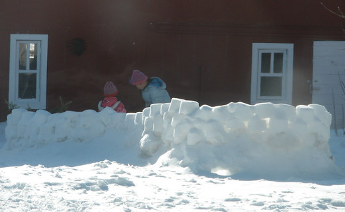 Girls in Snow Fort